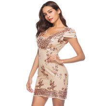 2018 Summer Women Vestido Sexy Plunging Neck Embroidered Floral Sequin Dress Empire Cap Sleeve Back Cut Out Short Bodycon Dress(China)