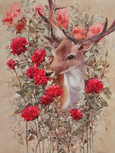 Diamond painting animal icons full DIY 3d diamond embroidery deer red rose pictures of rhinestones cross-stitch mosaic stickers