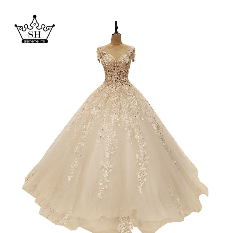 Dubai Arabic Vestido De Noiva 2017 Real Picture Beading Passels Wedding  Dresses Cut Back Crystal Sequins 4c1d8efa77c4