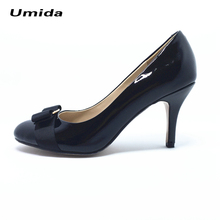 Umida Brand Women Shoes Bow Heels Shoes Classic Desiginer Women Pumps 100% Genuine Leather Medium Heel Shoes Pumps High Heels(China)