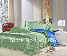 green blue mix match colors Smooth Shiny imitated silk satin bed linen girls bedding comforter queen/full quilt duvet covers set