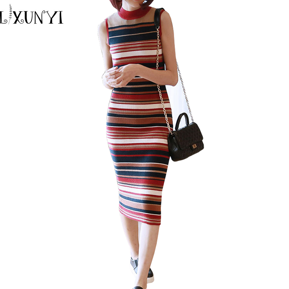 Autumn Women Long Knitted Dress 2018 Plus Size Vest Striped Thin Slim Knitted Sleeveless Sweater Dresses Bodycon O-Neck VestidosÎäåæäà è àêñåññóàðû<br><br>