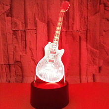 Guitar table lamp promotion shop for promotional guitar table lamp guitar ledremote touch switch 7 color change 3d lamp visual creative gift desk lamp deco enfant chambre flower table lamps aloadofball Images