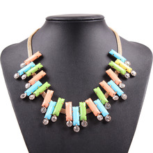2017 New Fashion Cheap Gold Chain Colorful Pendant Statement Colorful Jewelry Necklace For Women