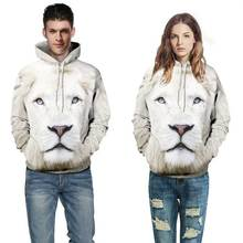 white lion Hoodie 3d print animal men women sweatshirts Front Pocket Loose Fit Drawstring coat all over print jumper jersey