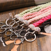 New Fashion Bling Crystal Pearl Neck Lanyard Strap With Lobster Clasp For ID Badge Holder Key Holder Mobile Phone 1pcs