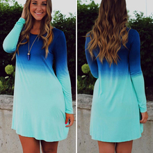 2016 Sea Blue Ocean Fashion Summer Dress Women's Long Sleeve Tiered Cute Gradient color Sequin Short Loose Dress