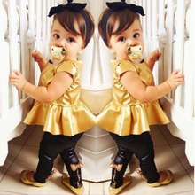Fashion Baby Girl Toddler Shirt Dress Legging Pants Set Baby Children Clothing Sets Outfits Kids Girls Summer Clothes