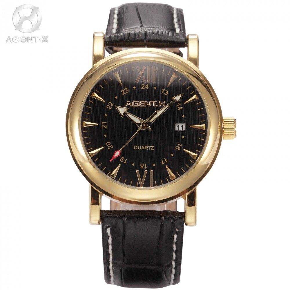 Genuine Brand AGENTX Day Display Gold Stainless Steel Case Leather Strap Montre Homme Clock Men Business Quartz Watch / AGX013<br>
