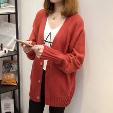V single breasted cardigan sweater 2017 new spring Korean loose long paragraph sweater coat female code