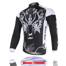 Cycling Fleece Jersey Bike Clothing Winter New Long Sleeve Wolf Team Plus velvet Clothing Bike Long Sleeve Bicycle Jacket Jersey
