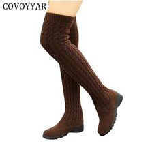 2017 Fashion Knitted Women Knee High Boots Elastic Slim Autumn Winter Warm Long Thigh High Boots Woman Shoes Size 40 WBS539(China)