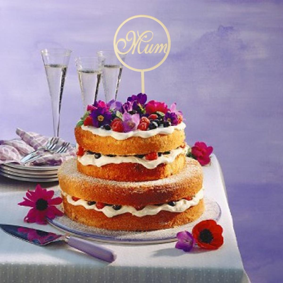 Großhandel Mum Cake Topper Acryl Spiegel Cupcake Sticks Runde Kuchen ...