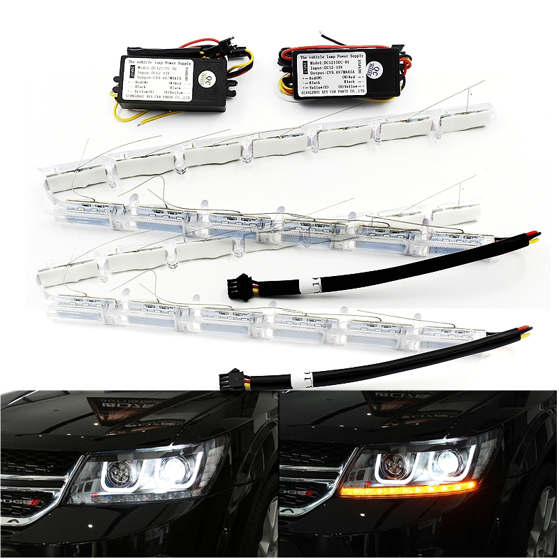 2x Flexible White/Amber 50CM Flow Meteor Styling LED Daytime Running Lights Turn Signal Telescopic Eyes Streering Car Headlight<br><br>Aliexpress