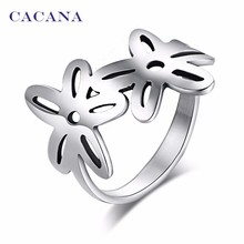 CACANA Stainless Steel Rings For Women With Double Flower Fashion Jewelry Wholesale NO.R144(China)