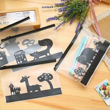 Creative Cartoon Animal Fox Translucent Matte Pencil Bags Zipper Pencil Pouch Storage Organizer Bag Stationery Bag