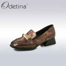 Odetina 2017 New Designer Square Toe Women Loafers Spring Fashion Special Heel Slip on Shoes for Women Metal Decoration Shoes