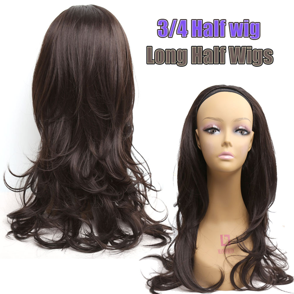 Long Half Wigs Synthetic Wigs For Black Women Wavy Curly Black Amir Wig Perruque Tresse Africaine Looking Natura 3/4l Hair Wigs<br><br>Aliexpress