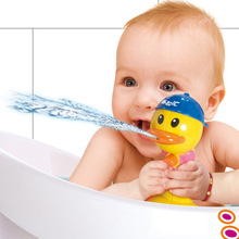 2016 New Children Gift Kids Yellow Duck Push Button Imizu Bathroom Toys Baby Water Spraying Bath Play Taps Toy Buttressed Boxed(China)