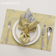 DUNXDECO Table Placemat Napkin Plate Cover Mat Modern Nordic Simple Flora Jacquard Party Desk Accessories Home Hotel Table Decor