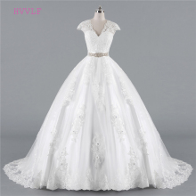 Buy Plus Size Vestido De Noiva 2018 Wedding Dresses Ball Gown Cap Sleeves Tulle Lace Sash Cheap Boho Wedding Gown Bridal Dresses for $124.67 in AliExpress store