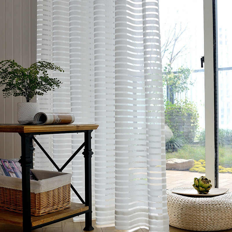 Modern White Striped Window Tulle Curtains for Living Room Geometric Solid Sheer Curtain for Bedroom Voile Net Curtains Binds