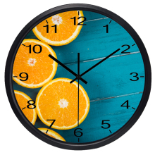 HD Orange New Design Living Room Fruit Shop Wall Clock Decor Silent Quartz Clock(China)