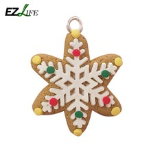 1pc Polymer clay Christmas tree Xmax snowflake gingerbread man Christmas snowman deer set of Christmas ornaments accessories