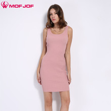 Womens Sexy Slim Bodycon Dress Vestidos Longitudinal strip Knitted Dresses U neck Sleeveless noodles tank dress MOFJOF  7 colors