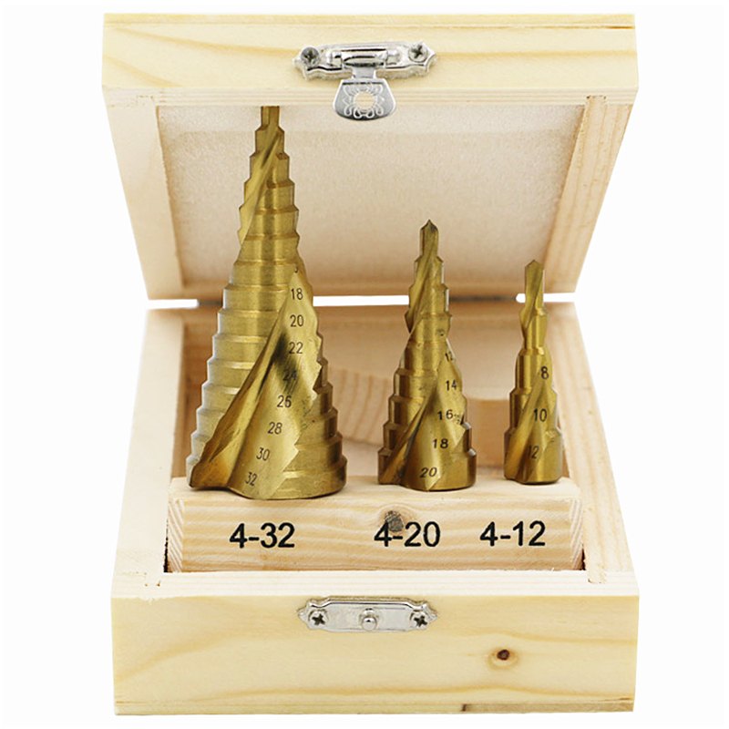 3PCS/Set HSS Step Cone Titanium Drill Bit Tool Hole Cutter Kits 4-12mm 4-20mm 4-32mm spiral Drilling Tools<br><br>Aliexpress
