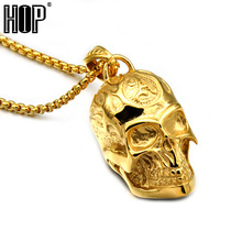HIP Punk Biker Gold Color Casting Titanium Stainless Steel Skeleton Skull Pendants Necklaces for Men Jewelry(China)