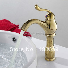 Free shipping Gold bathroom faucet,single lever hot and cold faucet in bathroom,luxury vessel sink tap,discount products