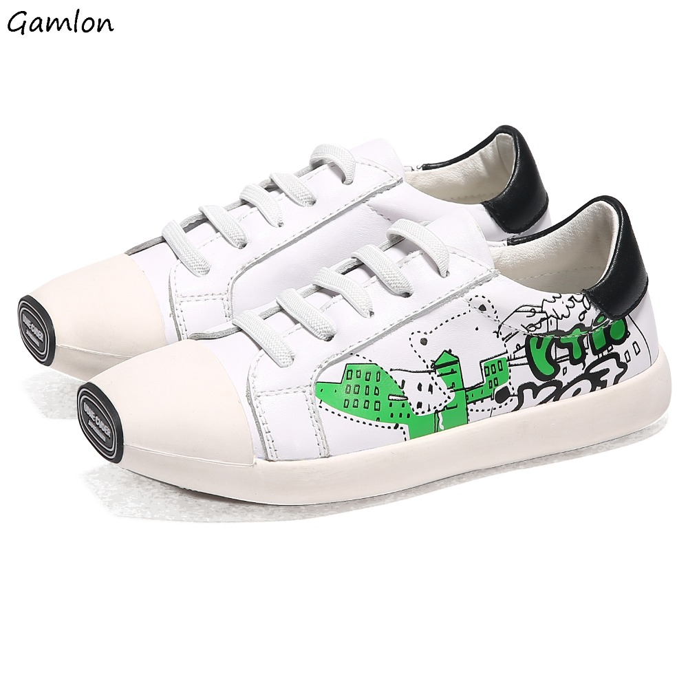 Gamlon Girls shoes white shoes leather boys casual shoes children graffiti flat shoes<br><br>Aliexpress