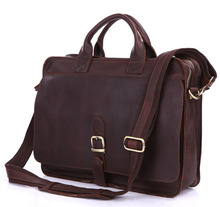 Nesitu Vintage Cow Leather Genuine Leather Men Briefcase Portfolio Messenger bags 14 inch Laptop Bag #M6020(China)