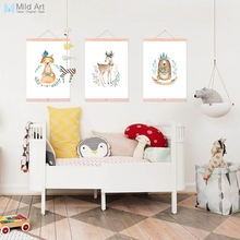 Cute Garland Animal Bear Deer Fox Wooden Framed Poster Nordic Kids Room Wall Art Print Picture Home Decor Canvas Painting Scroll(China)