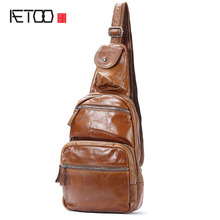 AETOO Oil Wrinkle Chest Pants Men Casual Men Korean Genuine Leather  IPAD bag Cowhide Shoulder shoulder bag men
