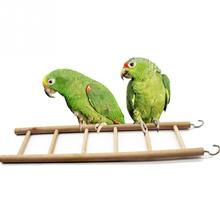 Bird Toys Wooden Ladders Rocking Scratcher Perch Climbing 3/4/5/6/7/8 Stairs Hamsters Bird Cage Parrot Pet Toys Supplies(China)
