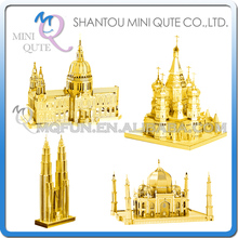 Piece Fun world architecture Metal Puzzle Golden Taj Mahal St.Paul's Saint Basil's Cathedral Petronas Towers educational toy