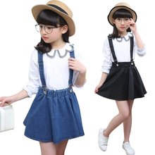 Fashion Girls Blouse Overall 2Pcs Set Korean Kids Baby Girl Clothes China Clothing Factories Direct Sale Girl New Year Gift