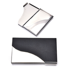 Elegant design Business Card Case Black PU Leather&Stainless Steel Name Card Case Holder Creative Gift(China)