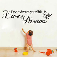 DCTOP Word Live Your Dream Butterflies Wall Stickers Home Decor Removable Vinyl Art Wall Decals Decoration