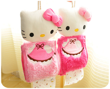 1pc Creative hello kitty plush doll cute cartoon cloth paper hanging towel holder rack home decoration children stuffed toy