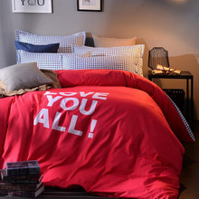 "Queen Size Red Color Bedding Set 100% Polyester Duvet Cover Bedsheet Home Textile Printed ""Love You All!"" Bed Linen XF21"