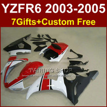 R6 bodywork for YAMAHA fairing kit 03 04 05 fairings YZF R6 2003 2004 2005 red white  Motorcycle sets T555