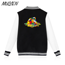 MULYEN Rubik's Cube Hoodies Men Hip Hop Melt Cube Sweatshirt Male Black Gray Magic Square Baseball Clothing Fleece Streetwear(China)