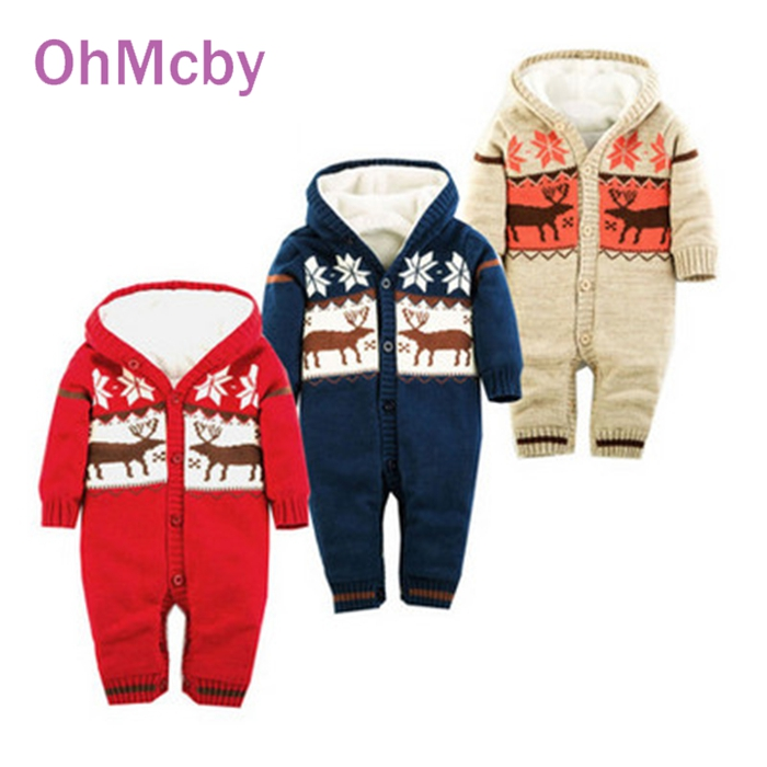 Baby Warm Thick Winter Knitted Sweater Rompers Infant Boys Girls Jumpsuit Climbing Clothes Newborn Christmas Deer Hooded Outwear<br><br>Aliexpress