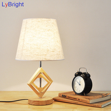 Vintage Wooden Wood Table Lamp AC 90-260V Table Light Creative Classic American European Style For Living Room Bedroom Bedside(China)