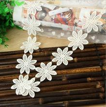 K15352 BY Yard Flower Knit Cotton Embroidered Lace Trim Ribbon DIY Dress Edge Craft Lace Home Curtains Accessory 2 Inches Wide