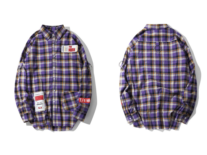 Plaid Patchwork Long Sleeve Shirts 3