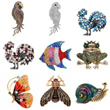 Enamel Snail Frog Parrot Butterfly Brooch Alloy Insect Brooches For Scarf Sweater Corsage Accessories Kids Men Women Pin(China)